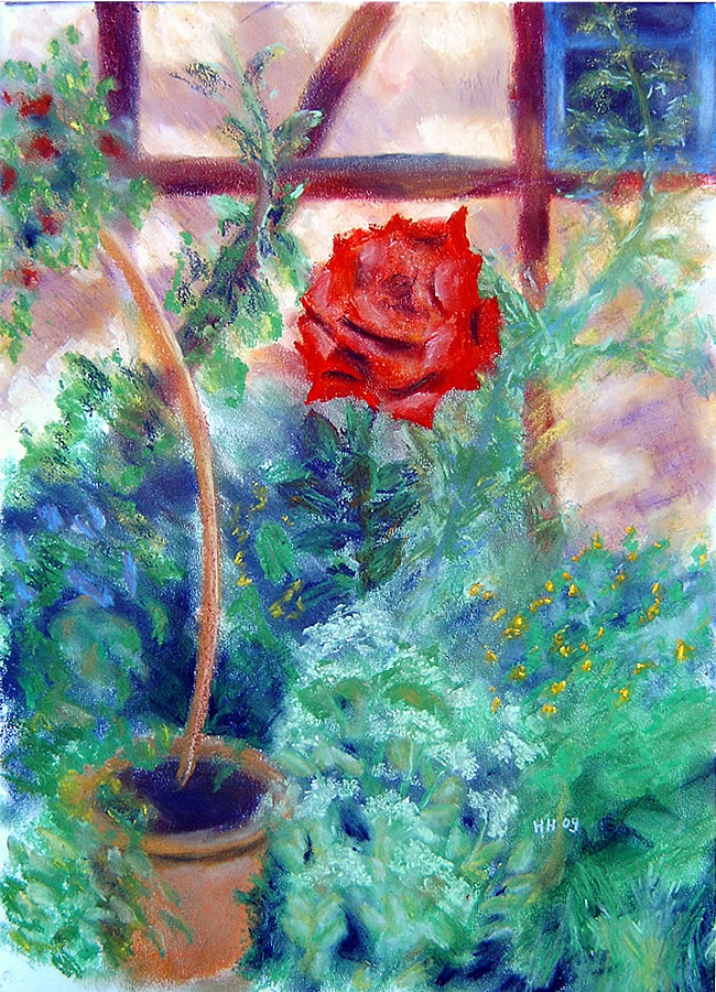 Rote Rose Pastell 59x42 cm